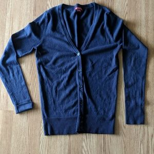 Dark blue button up ribbed cardigan